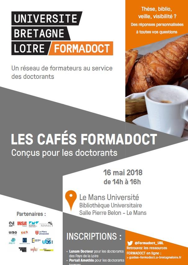 Affiche du café Formadoct se déroulant au Mans le 16 mai 2018